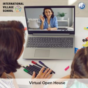 Virtual open house conducted by International village school -the best IGCSE school in Chennai with a madam saying hi . Student and her mother attending the same in laptop