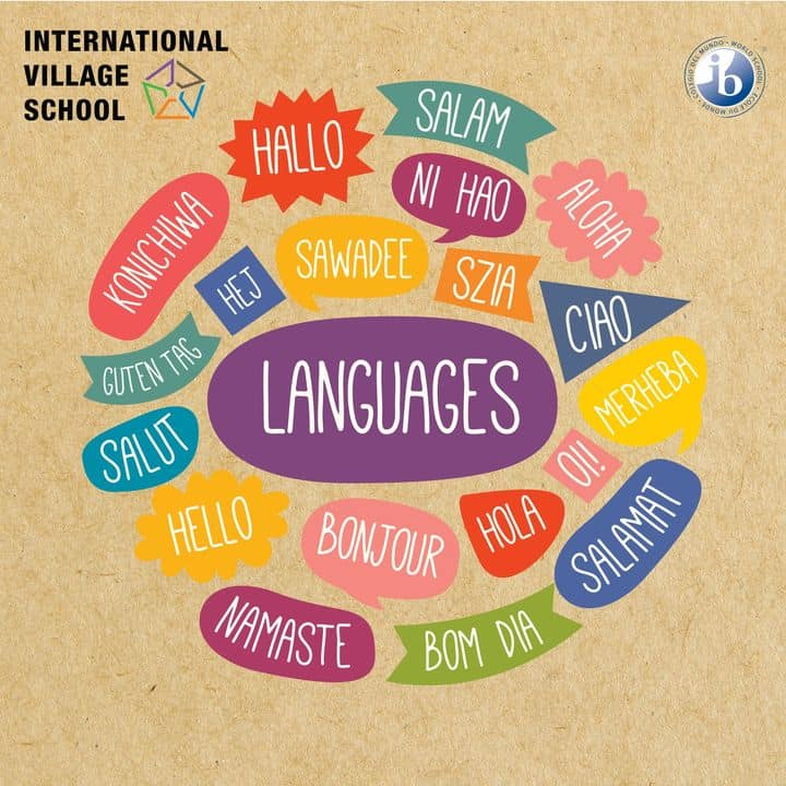 Banner for Celebrating international mother language day on Feb 21 with hello in all languages prepared by our IB board school in Chennai