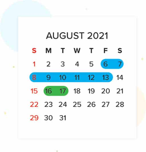 August 2021 school Calendar -Highlighting few dates in Green, Blue  & Red indicating school important  dates , holidays