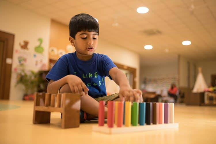 A boy in a blue shirt  of  elementary grade exploring the IB Board activity by arranging the colour bars at his school